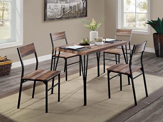 Natural tone/espresso steel construction 5 pc. dining set
