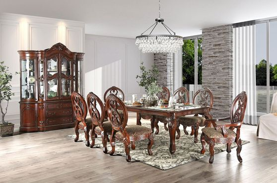Antique cherry traditional french style formal dining table