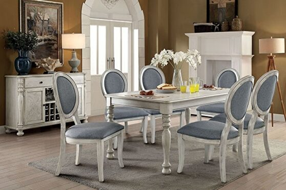 Antique white transitional dining table
