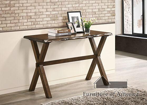Walnut wood construction sofa table w/ cross x-legs