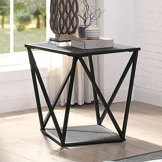 Gray/ sand black faux slate top end table