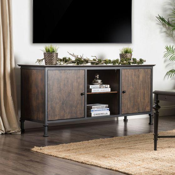 Medium Weathered Oak Industrial TV Stand