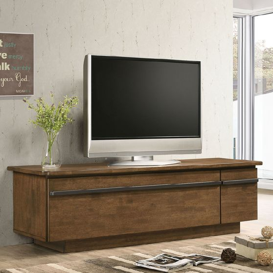 Light Walnut/Gray Doris Mid-Century Modern TV Stand
