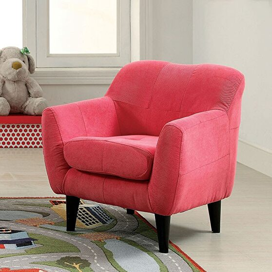 Pink flannelette tufted seat cushion kids chair
