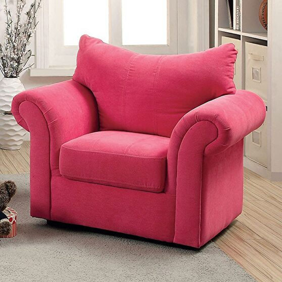 Contemporary style pink flannelette kids chair