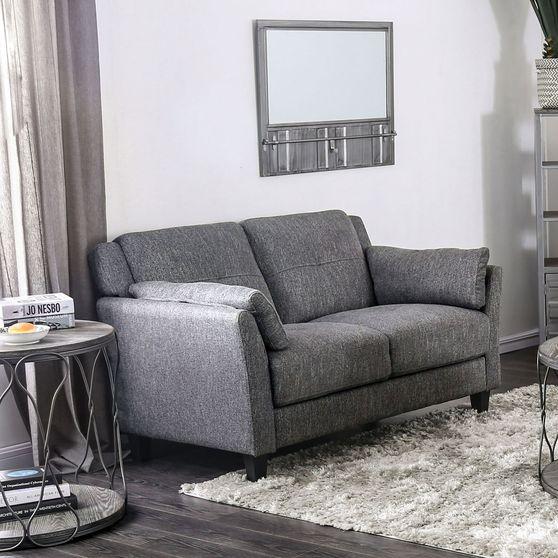 Gray Contemporary Lovesaet in Linen Like Fabric