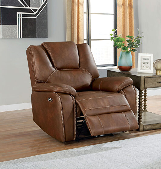 Dynamically upholstered brown faux-leather power recliner chair