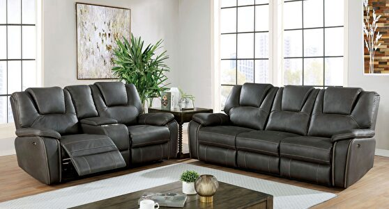 Dynamically upholstered gray faux-leather power recliner sofa