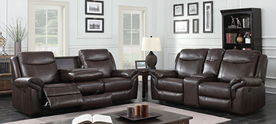 Brown breathable leatherette power recliner sofa