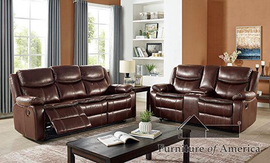 Superior cognac brown leatherette recliner sofa