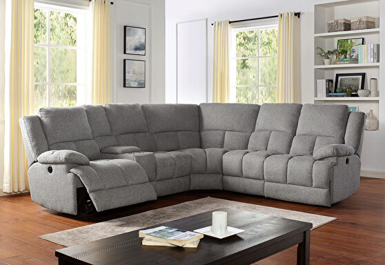 Gray transitional power recliner sectional with storage