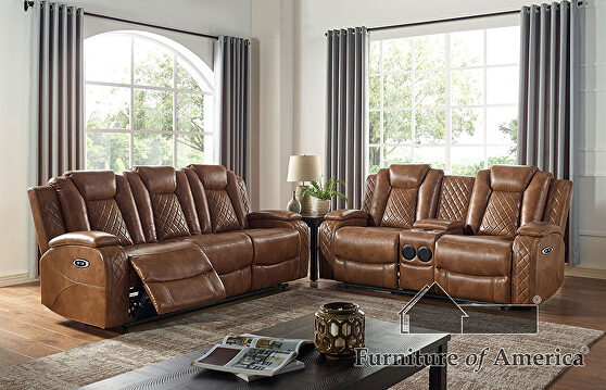 Brown deluxe detailed upholstery power recliner sofa