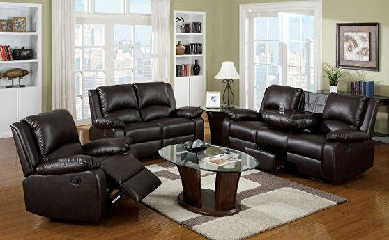Rustic dark brown leatherette motion recliner sofa w/ flip-down table