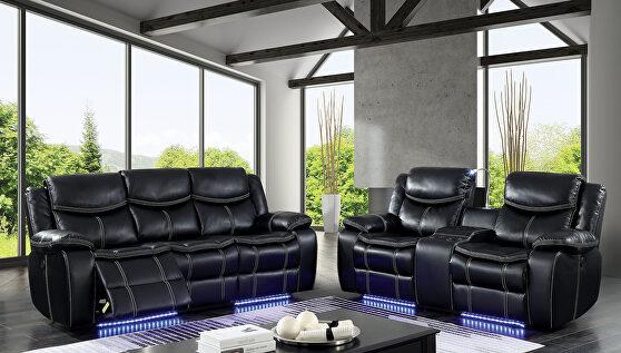 Black breathable leatherette power recliner sofa