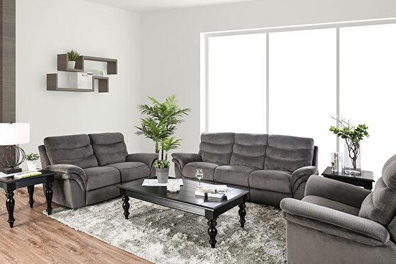 Transitional style ultra plush fabric recliner sofa