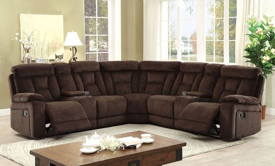 Large recliner sectional in brown w/ 2 consoles