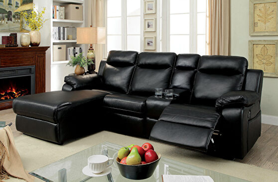 Black leatherette upholstery recliner sectional