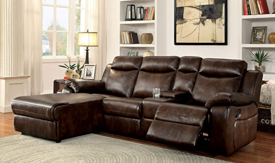 Brown leatherette upholstery recliner sectional