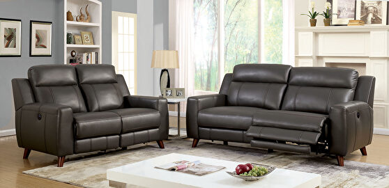 Gray breathable leatherette power motor recliner sofa