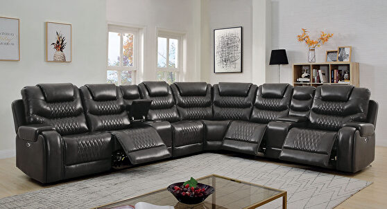 Diamond tufted design faux leatherette power recliner sectional sofa