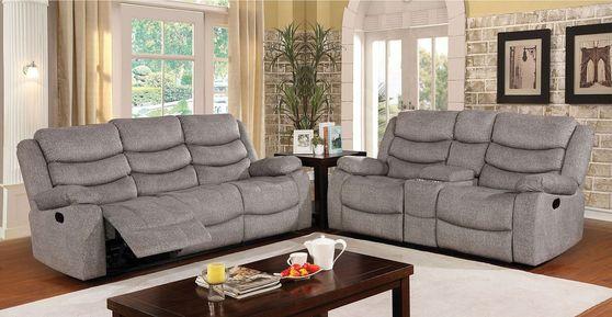 Light gray contemporary sofa w/ 2 recliners