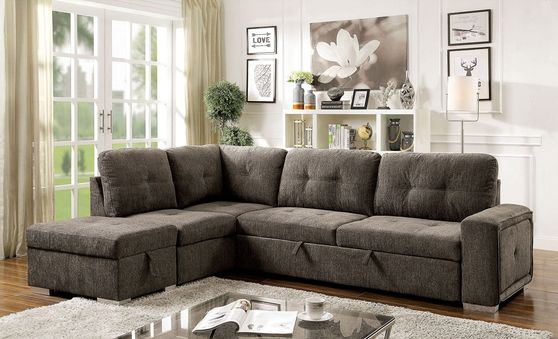 Gray Contemporary Sectional w/ Sleeper