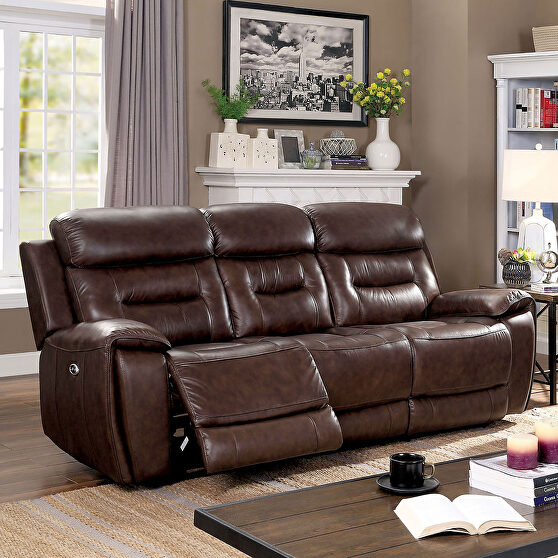 Brown Transitional Power Sofa
