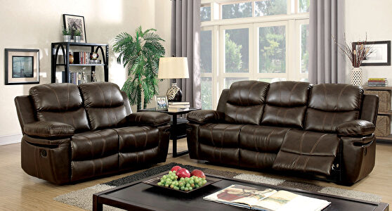 Brown bonded leather match recliner sofa
