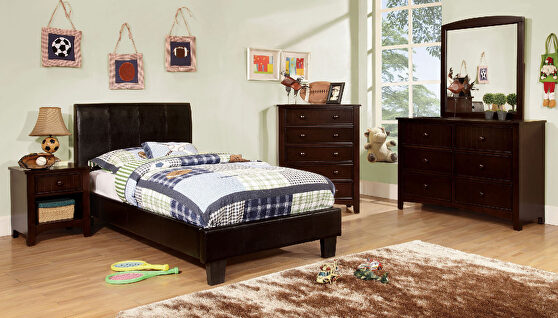 Espresso curved headboard youth bed