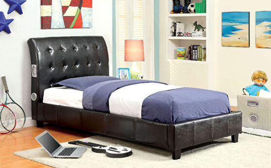 Button tufted espresso finish youth bed