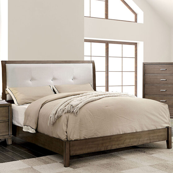 Gray/ silver leatherette button tufted headboard contemporary king bed