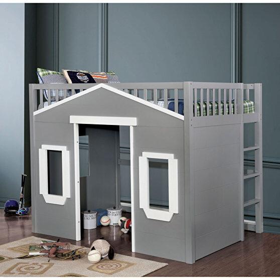 Gray/ white finish house inspired design loft bed