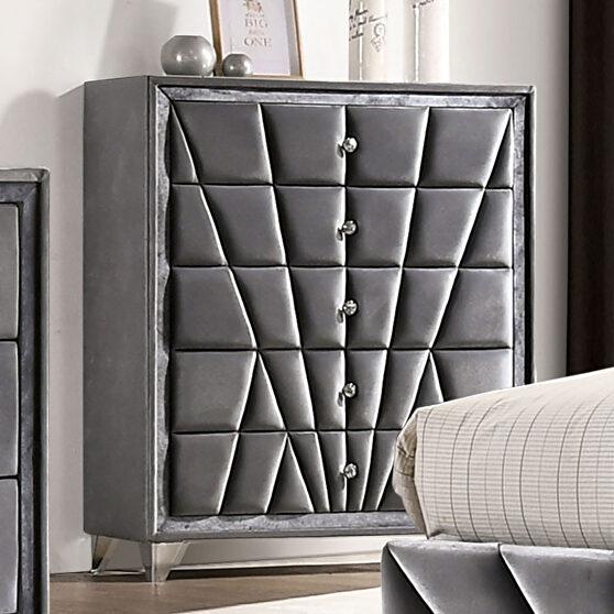 Gray fabric art deco-inspired design chest