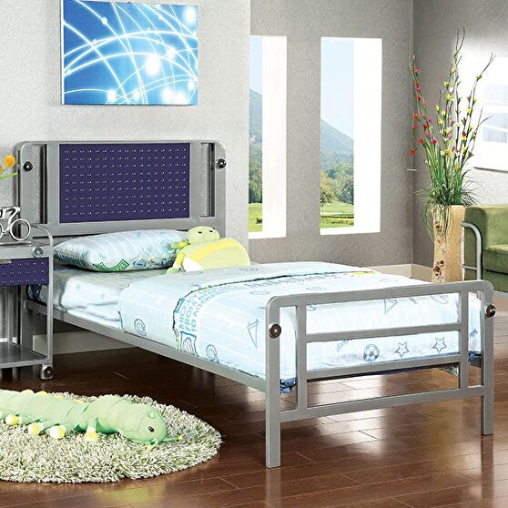 Silver & dark blue finish contemporary youth bed