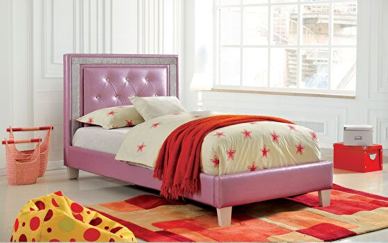 Purple leatherette and solid wood contemporary bed