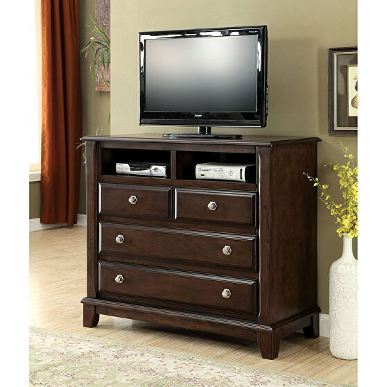 Brown cherry transitional style media chest