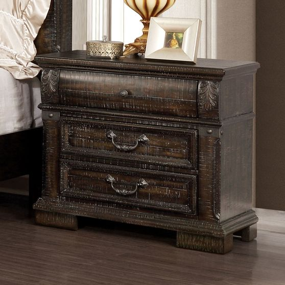Distressed walnut transitional style night stand