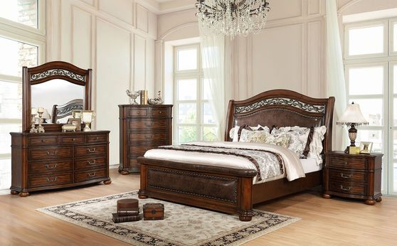 Traditional brown cherry bed w/ leather headboard