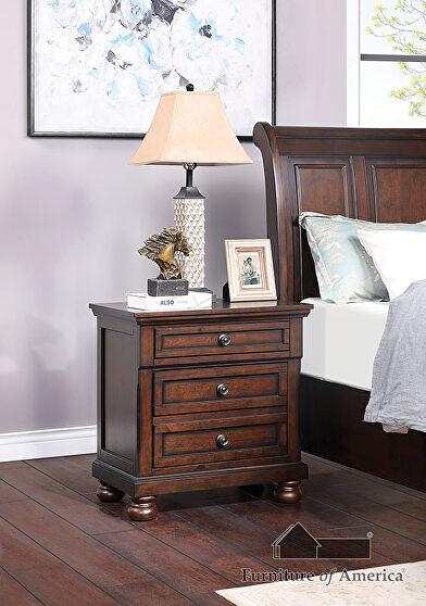 Dark cherry wood finish nightstand in country style