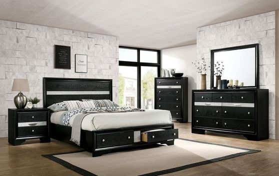Contemporary black / silver accents bed