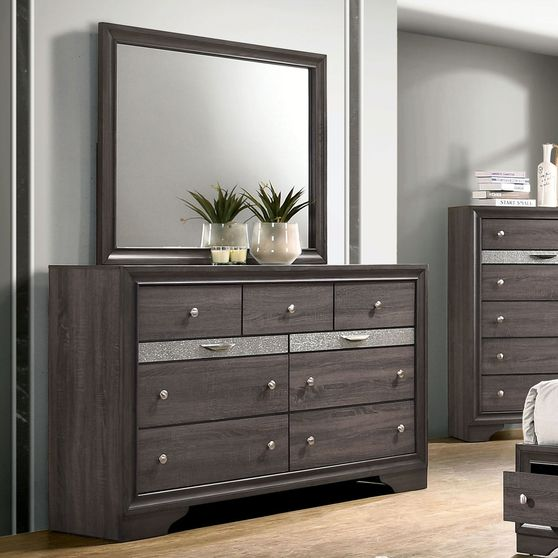 Contemporary gray / silver accents dresser