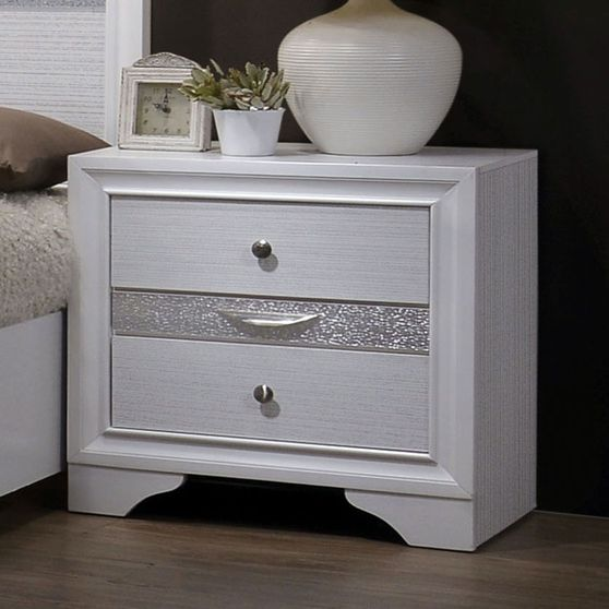 Contemporary white / silver accents night stand