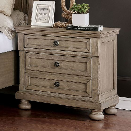 Transitional style gray bed nighstand