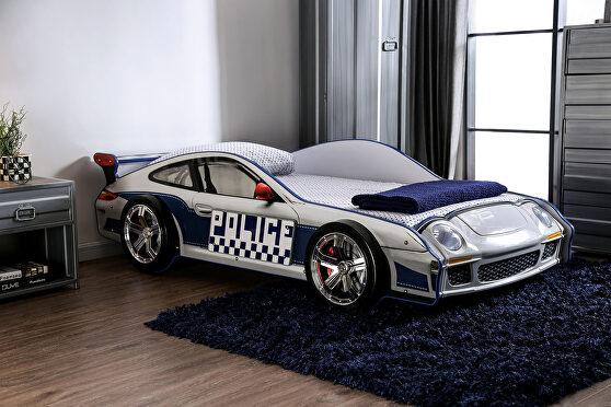 Blue/ white finish race car design bed