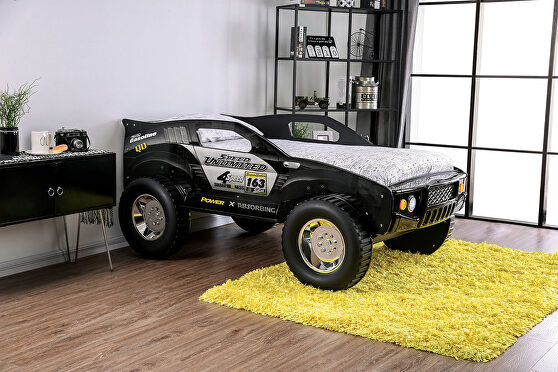 Black finish off-road car design youth bed