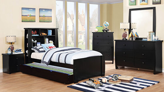 Black finish transitional youth bedroom w/ storage
