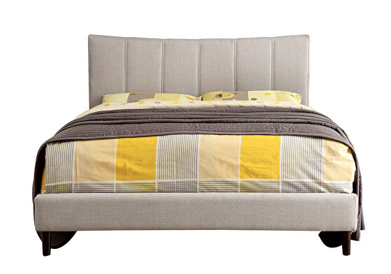 Beige linen-like fabric curved top headboard contemporary twin bed