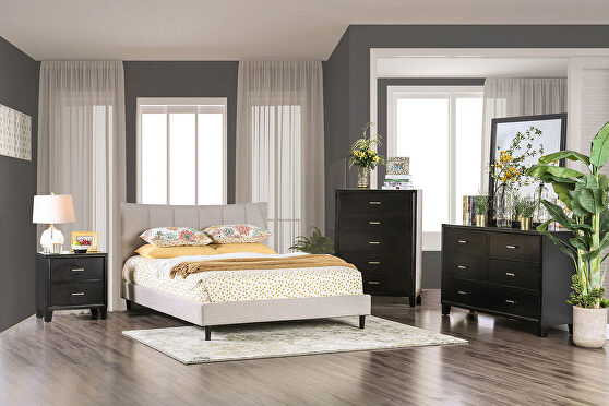 Beige linen-like fabric curved top headboard contemporary bed