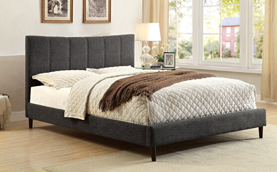 Dark gray linen-like fabric curved top headboard contemporary full bed