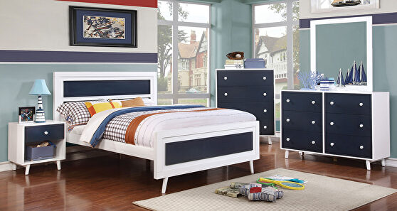 White/blue finish wood contemporary bed